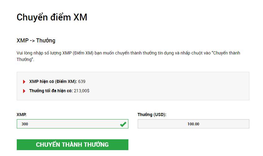 Màn hình hoán đổi thưởng điểm XMP XM