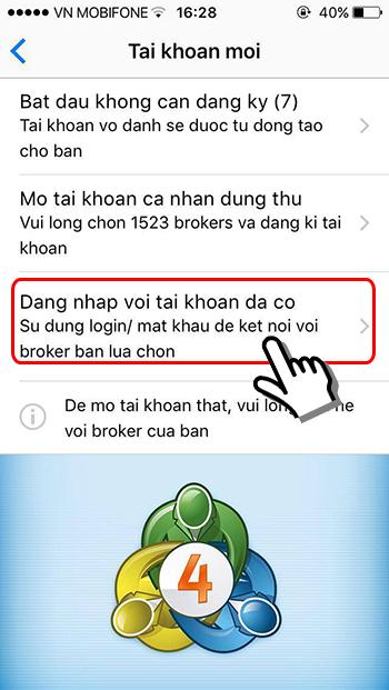Màn hình đăng nhập ứng dụng MT4 smartphone