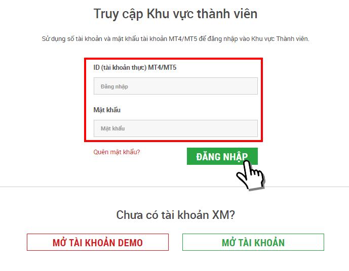 màn hình đăng nhập XM