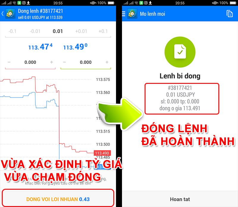 Thay đổi lệnh đặt trên ứng dụng MT4 Android
