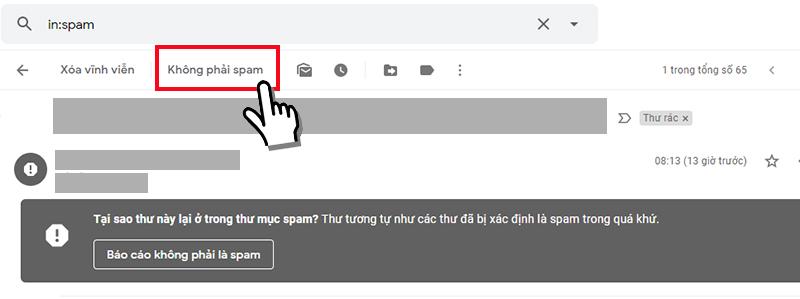 thay đổi từ thư spam sang hộp thư đến