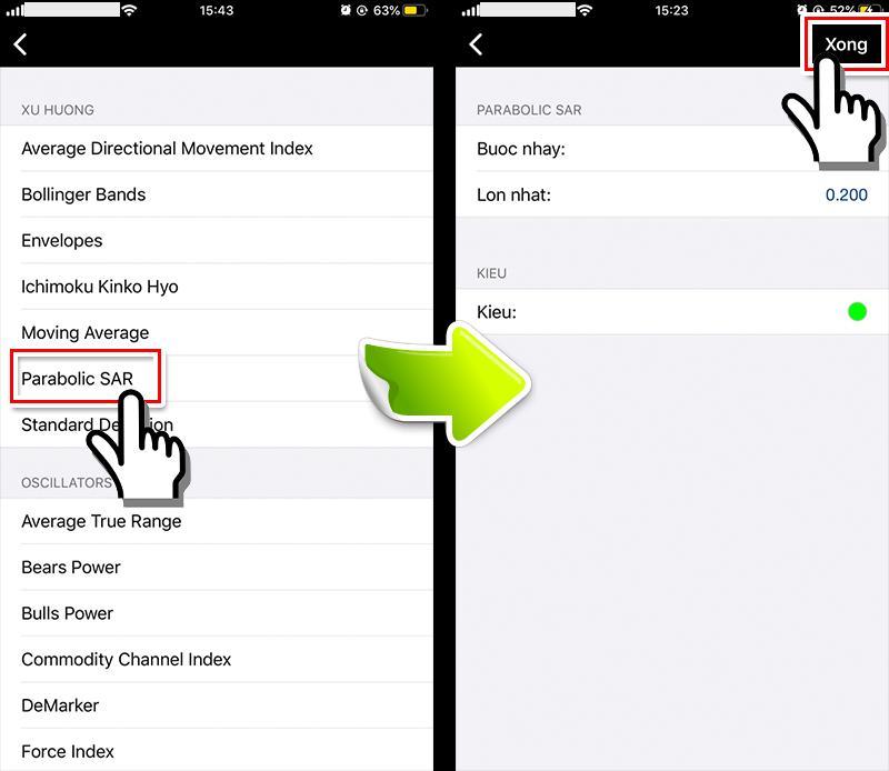 màn hình cài đặt Parabolic SAR smartphone