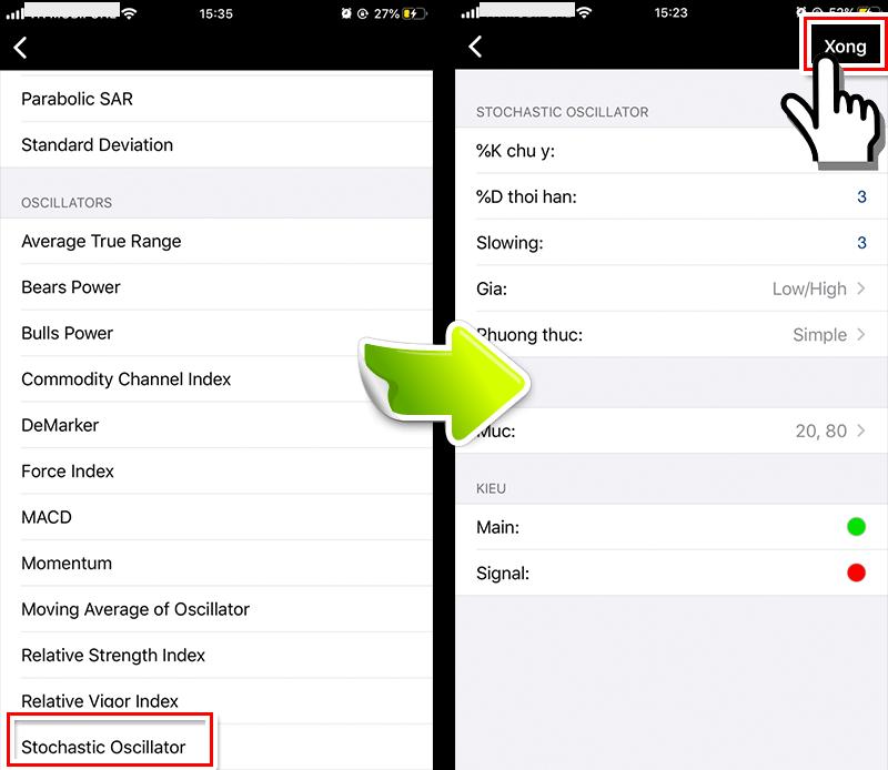 hiển thị Stochastic lên MT4 smartphone