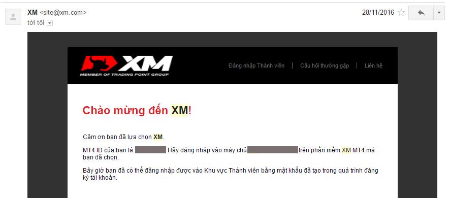 Mail ID đăng nhập XM