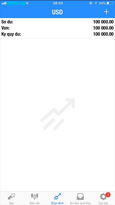 Màn hình giao dịch MT5