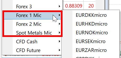 Tên cặp tiền tệ của tài khoản XM Micro
