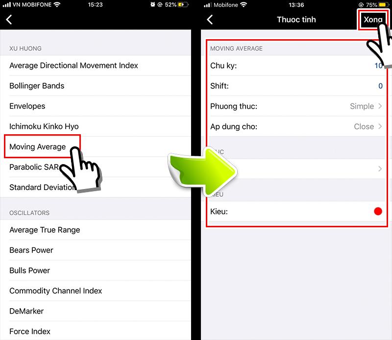 màn hình cài đặt đường trung bình động MT4 cho smartphone