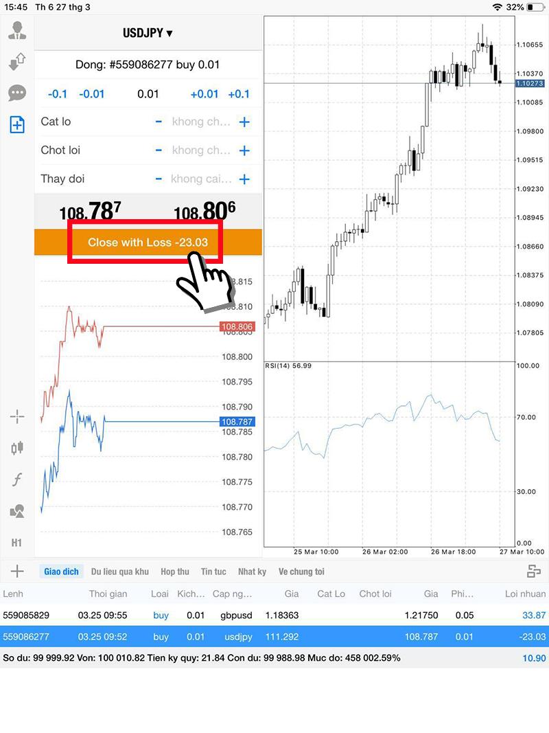 Màn hình đóng lệnh thị trường