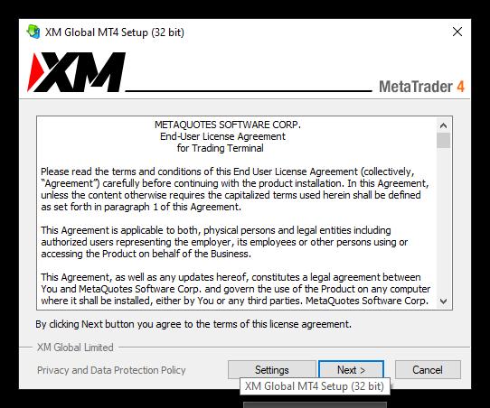 màn hình set up XM MT4