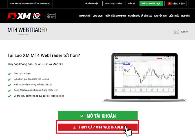 Truy cập đến XM MT4 Web