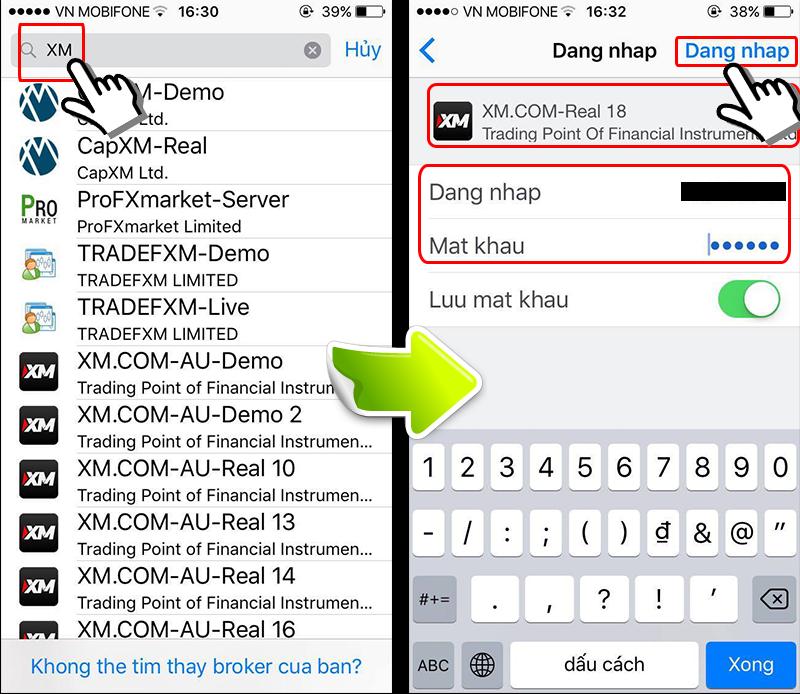 Đăng nhập MT4 smartphone
