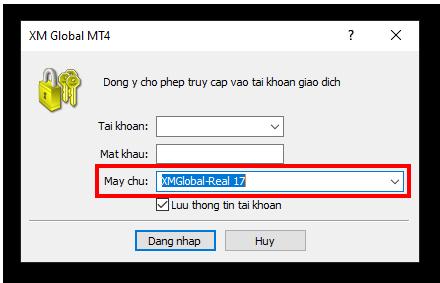 màn hình đăng nhập XM MT4