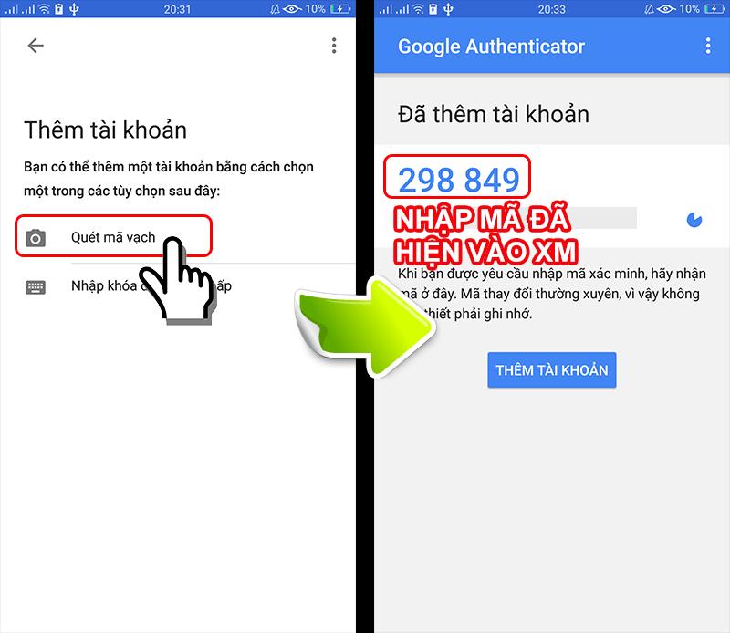 vận hành ứng dụng Google Authenticator
