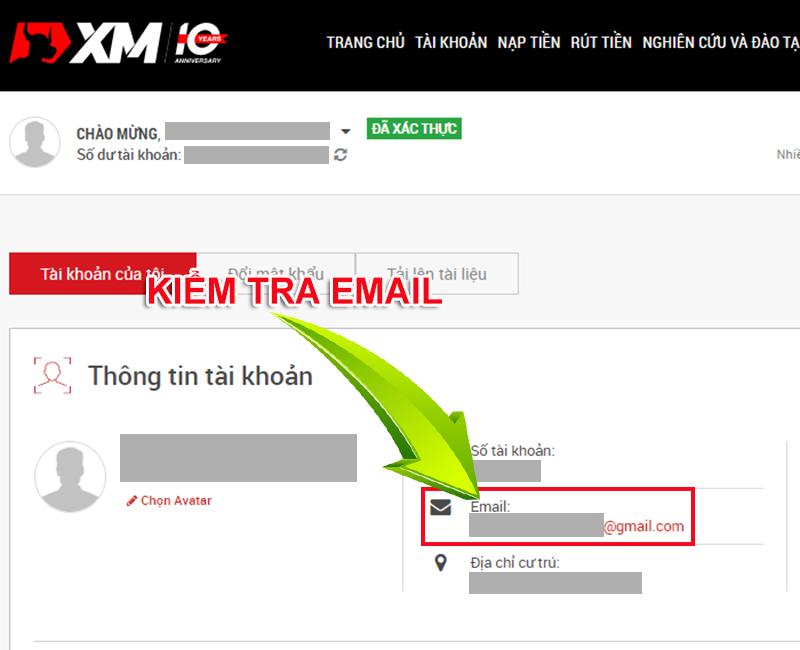 Kiểm tra địa chỉ mail XM
