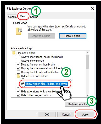 màn hình cài đặt hiển thị thư mục ẩn